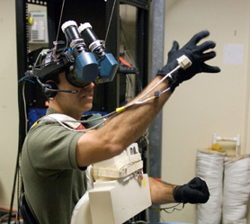NASA astronaut during VR training